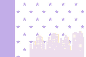 Wallpaper with houses for a child's room. Vector illustration. Baby girls bedroom interior wall-papers for walls. The silhouette of the night city.