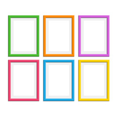 Colored photo frames set.