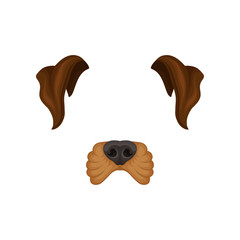 Detailed flat vector icon of brown dog s ears and nose. Mask of domestic animal. Design for mobile app, selfie photo decor