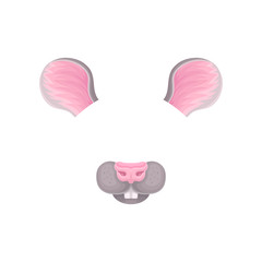 Ears, nose and teeth of little mouse. Mask for carnival. Animal face for video or photo filters. Detailed flat vector design for mobile app