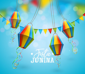 Festa Junina Illustration with Party Flags and Paper Lantern on Blue Background. Vector Brazil June Festival Design for Greeting Card, Invitation or Holiday Poster.