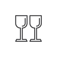 Wineglasses outline icon. linear style sign for mobile concept and web design. Two glasses simple line vector icon. Symbol, logo illustration. Pixel perfect vector graphics