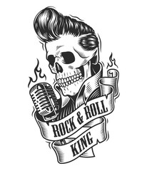 Human skull in rock and roll.