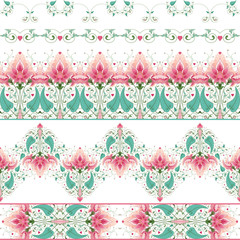 Vector set of five seamless borders. Beautiful floral pattern. All design elements consist of hearts. Wedding or Valentine's Day.