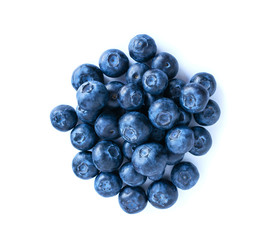 Blueberries pile isolated on white background. fresh bilberry closeup