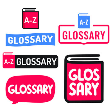 Glossary. Set of hand drawn doodles badges, icons. Flat vector illustrations on white background.