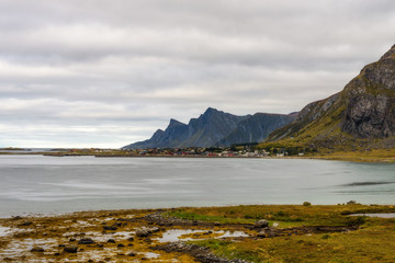 Wall Mural - Village along the coastline and high mountains on Lofoten islands