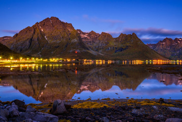 Wall Mural - Evening at a fishing village on Lofoten islands in Norway