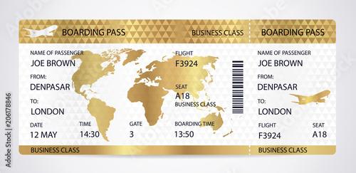 Golden Boarding Pass Ticket Traveler Check Template With Aircraft