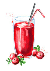 Glass of cranberry Juice and fresh ripe berries. Watercolor hand drawn illustration, isolated on white background