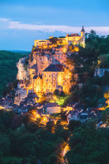 Night view of the village of Rocamadour in Lot department in France.