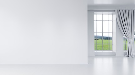 Modern bright interior with empty wall
