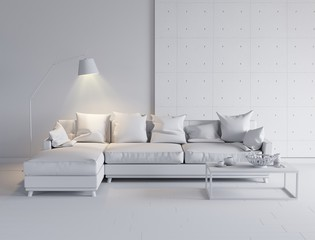 Modern bright interior with sofa and table