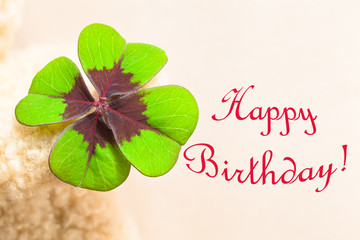 Lucky Birthday Card Image Motif / Big four-leaved multicolored clover leaf at hand of teddy bear with red written words HAPPY BIRTHDAY! (copy space)