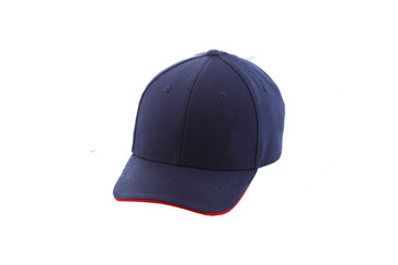 Blue cap on white background