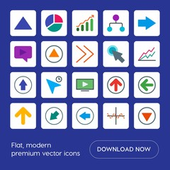 Modern Simple Set of arrows, charts, video, cursors Vector flat Icons. Contains such Icons as  button,  internet,  previous,  arrow,  circle and more on blue background. Fully Editable. Pixel Perfect