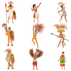 Aztec warriors set, men in traditional clothes and headgear with weapon vector Illustrations on a white background