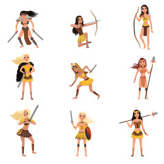 Amazon girls set, women warriors with spears, swords and bows vector Illustrations on a white background