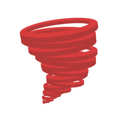 minimalistic tornado of red color on a white background