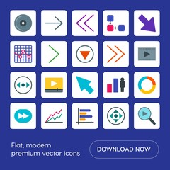 Modern Simple Set of arrows, charts, video, cursors Vector flat Icons. Contains such Icons as  social,  stock,  media,  next,  growth, disc,  and more on blue background. Fully Editable. Pixel Perfect