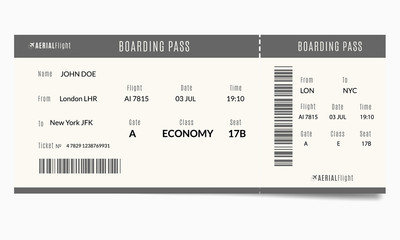 Airplane ticket template with passenger name and destination route. Realistic boarding pass illustration