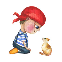 A cute and little boy who looks like a pirate. He is sitting and looking at the kitty. Watercolor hand drawn illustration.
