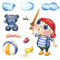 A cute and little boy who looks like a pirate. He keeps  a wood sword. There is also a ball, a chick, butterfly, bee, bear and cloud. Watercolor hand drawn illustration.