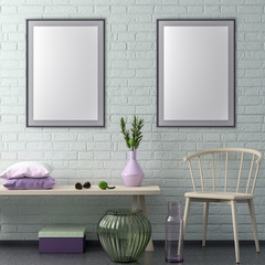 Mock up poster frame in hipster interior background and brick wall, 3D illustration