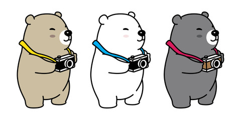 bear vector polar bear icon logo panda illustration camera character cartoon