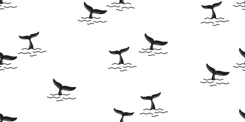 shark fin seamless pattern vector dolphin whale tail ocean background isolated wallpaper