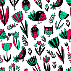 Pattern with tulips and birds