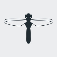 Icono plano libelula en fondo gris
