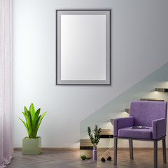 Mock up poster frame in hipster interior background, 3D illustration