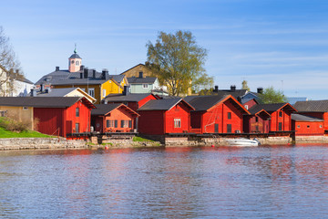 Porvoo town, Finland. Old red houses