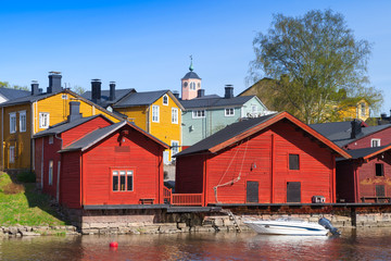 Porvoo, Finland. Old red wooden houses