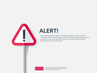 attention warning alert sign banner with exclamation mark symbol. concept for danger on Internet, technology, VPN Security protection. Background vector illustration. Wall mural