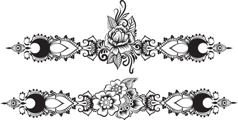 Ethnic indian line art border