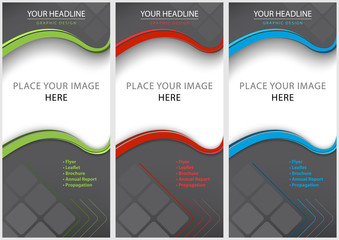 Set of Blank Brochure Template - Modern Geometric Graphic Design in Three Colored Variations, Vector Illustration