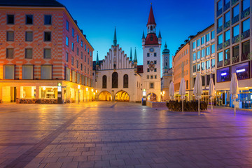 Munich. Cityscape image of Marien Square in  Munich, Germany during twilight blue hour.