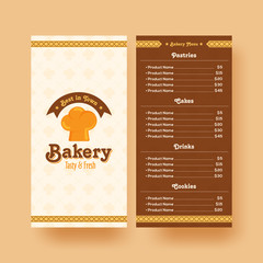 Bakery shop menu card design.