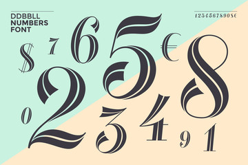 DDBBLL. Numbers font in classical geometric design for banner, poster, invitation, greeting card. Beautiful elegant numeral, dollar, euro symbols. Vintage and retro typographic. Vector Illustration