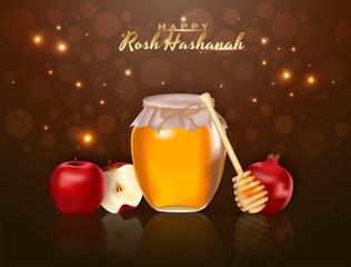 Jewish New Year, Rosh Hashanah Festival Background.