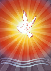 Christian baptism symbol with water waves and dove on sunset background