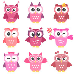 set of cute pink and red owls girls