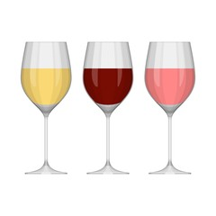 Set of different vector wine glasses isolated on white background. White, red and pink wine. Vector illustration