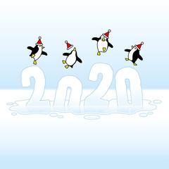 Santa Penguins Celebrating on Sinking Frozen Year 2020