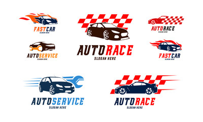 Set of Racing car Logo vector, Fast car Flame logo, Automotive Service Logo designs vector illustration