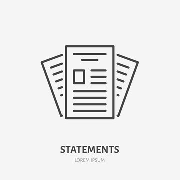 Statement flat line icon. Paper documents sign. Thin linear logo for legal financial services, accountancy.