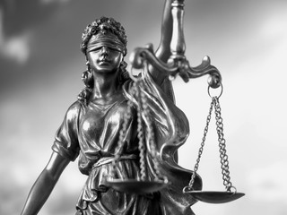 tue of justice. Law concept. Legal law, advice and justice concept. Statue of justice goddess. Black and white