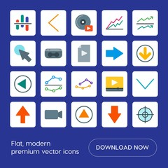 Modern Simple Set of arrows, charts, video, cursors Vector flat Icons. Contains such Icons as  video,  success,  retro,  old,  technology, up and more on blue background. Fully Editable. Pixel Perfect